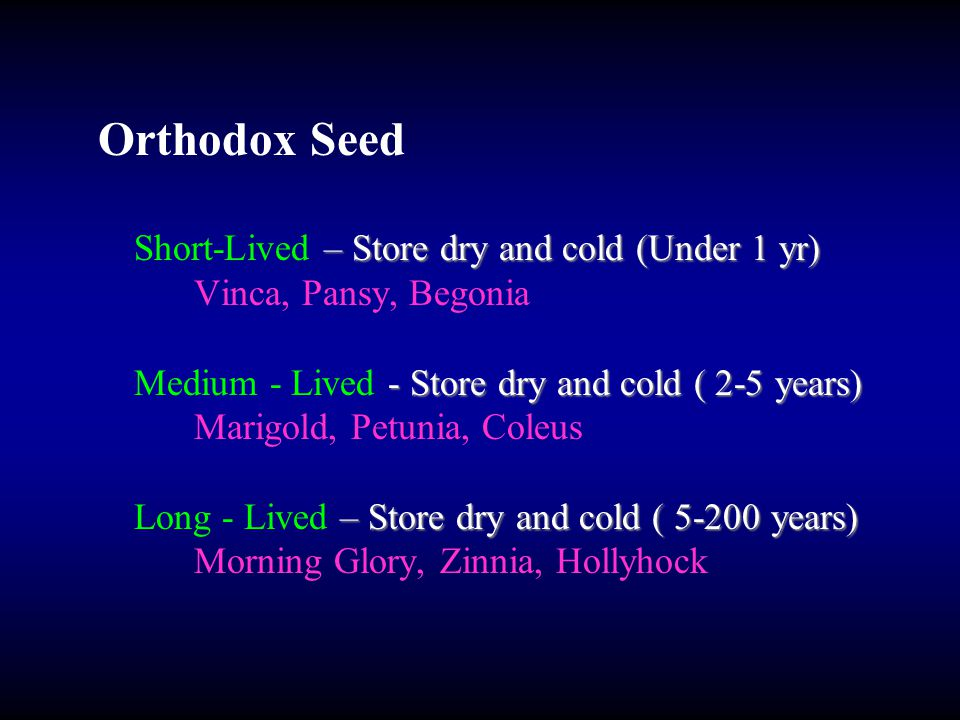Orthodox Seed – Store dry and cold (Under 1 yr) Short-Lived – Store dry and cold (Under 1 yr) Vinca, Pansy, Begonia - Store dry and cold ( 2-5 years) Medium - Lived - Store dry and cold ( 2-5 years) Marigold, Petunia, Coleus – Store dry and cold ( 5-200 years) Long - Lived – Store dry and cold ( 5-200 years) Morning Glory, Zinnia, Hollyhock
