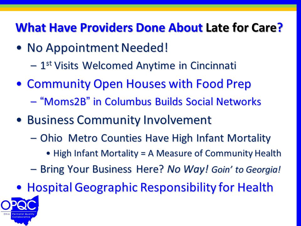 What Have Providers Done About Late for Care. No Appointment Needed!No Appointment Needed.