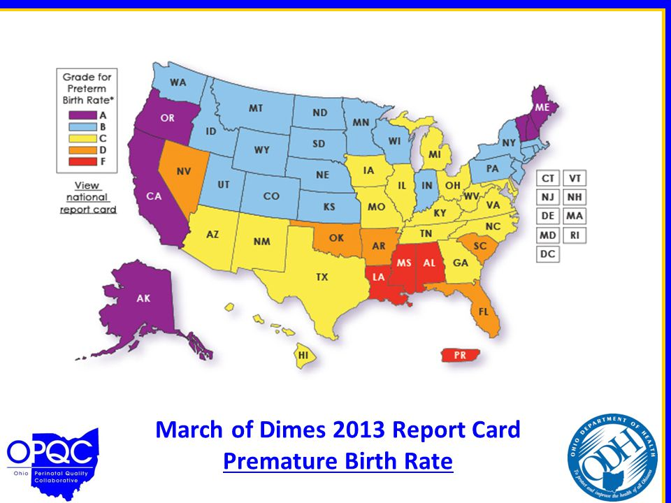 March of Dimes 2013 Report Card Premature Birth Rate
