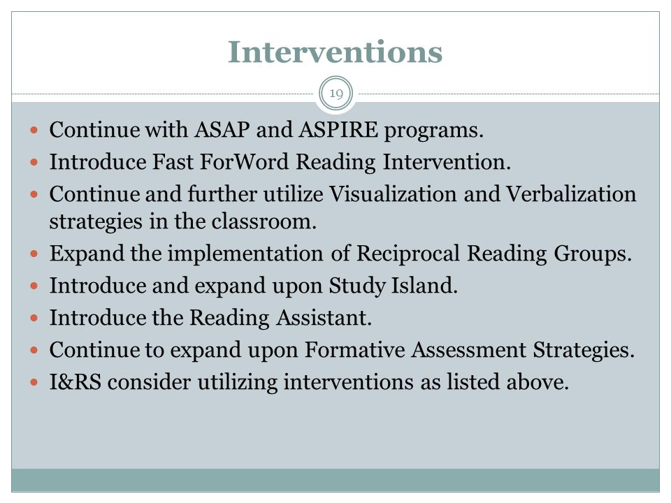 Interventions Continue with ASAP and ASPIRE programs.