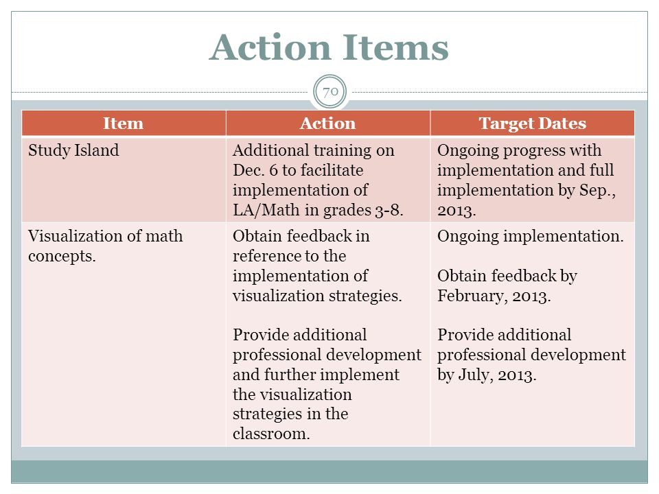 Action Items ItemActionTarget Dates Study IslandAdditional training on Dec.