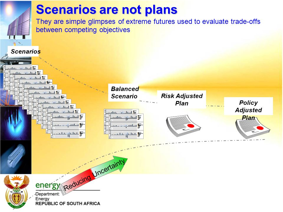 Balanced Scenario Scenarios are not plans Scenarios are not plans They are simple glimpses of extreme futures used to evaluate trade-offs between competing objectives Reducing Uncertainty Scenarios Risk Adjusted Plan Policy Adjusted Plan