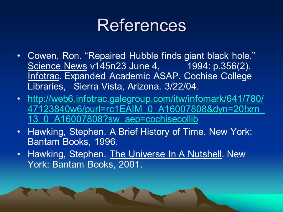 References Cowen, Ron.