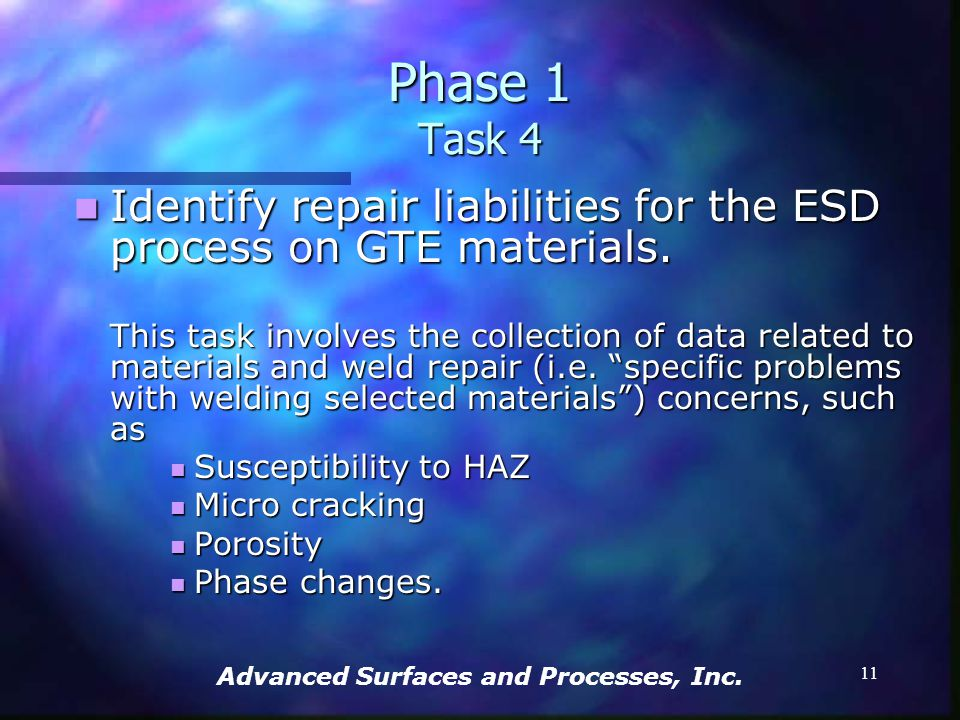 Advanced Surfaces and Processes, Inc. 10 Optimize ESD parameters and specifications for selected materials. Optimize ESD parameters and specifications