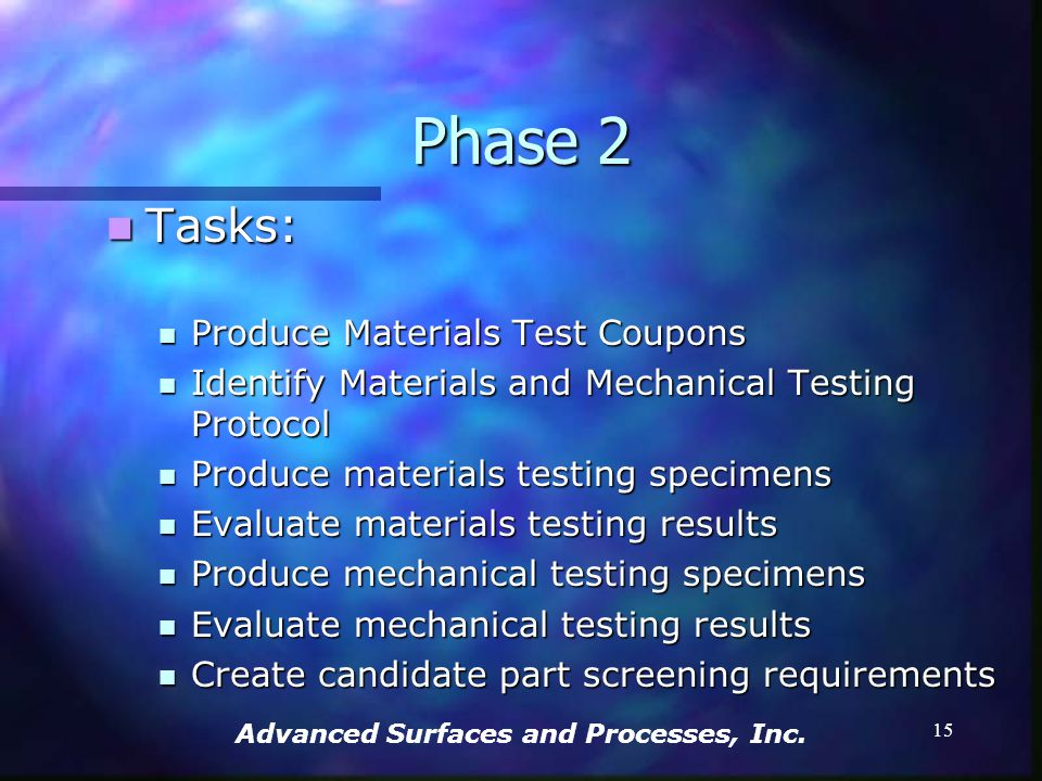 Advanced Surfaces and Processes, Inc. 14 Phase 2 9/1/02 – 6/30/03 9/1/02 – 6/30/03 Gather and evaluate information and data regarding the effects of t