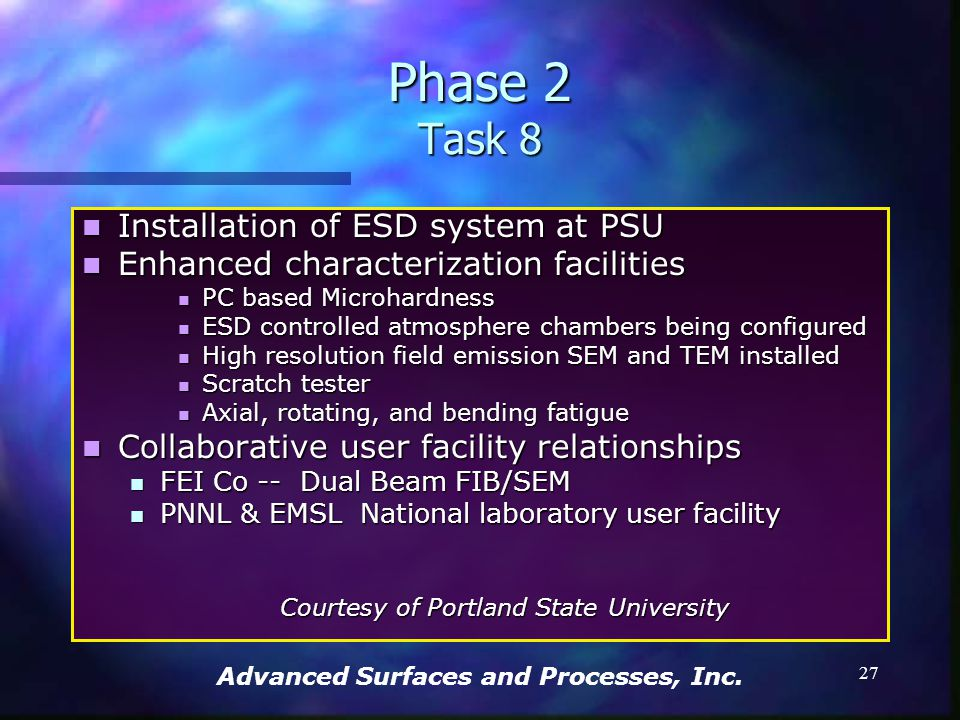 Advanced Surfaces and Processes, Inc. 26 Phase 2 Task 8 Quantitative image analysis – optical & SEM Quantitative image analysis – optical & SEM Microh