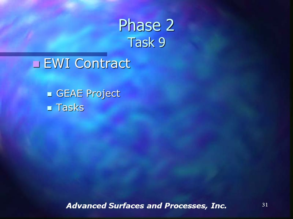 Advanced Surfaces and Processes, Inc. 30 Phase 2 Task 8 ESD voltage-current-porosity relationship ESD voltage-current-porosity relationship Courtesy o
