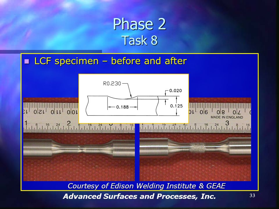 Advanced Surfaces and Processes, Inc. 32 Phase 2 Task 8 Workscope for GEAE work Workscope for GEAE work Focus on developing mechanical property data f