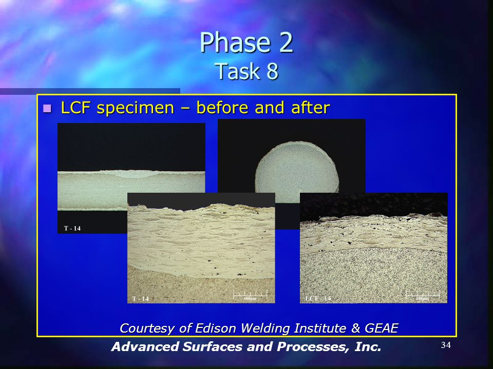 Advanced Surfaces and Processes, Inc. 33 Phase 2 Task 8 LCF specimen – before and after LCF specimen – before and after Courtesy of Edison Welding Ins