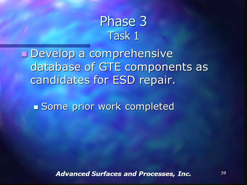 Advanced Surfaces and Processes, Inc. 38 Phase 3 Tasks: Tasks: Develop a database of components as candidates Develop a database of components as cand
