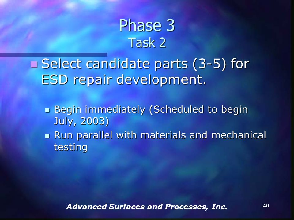 Advanced Surfaces and Processes, Inc. 39 Develop a comprehensive database of GTE components as candidates for ESD repair. Develop a comprehensive data