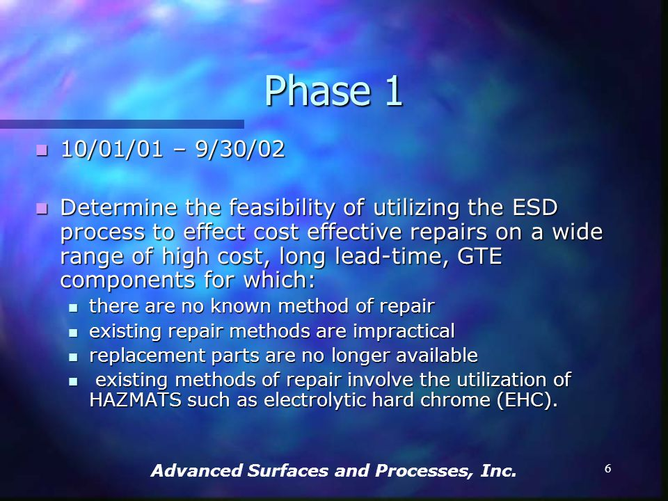 Advanced Surfaces and Processes, Inc. 5 The Project Plan Phase 1 Phase 1 Period of Performance: 10/01/01 – 9/30/02 Period of Performance: 10/01/01 – 9