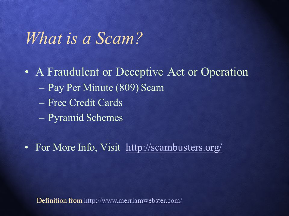 What is a Scam.