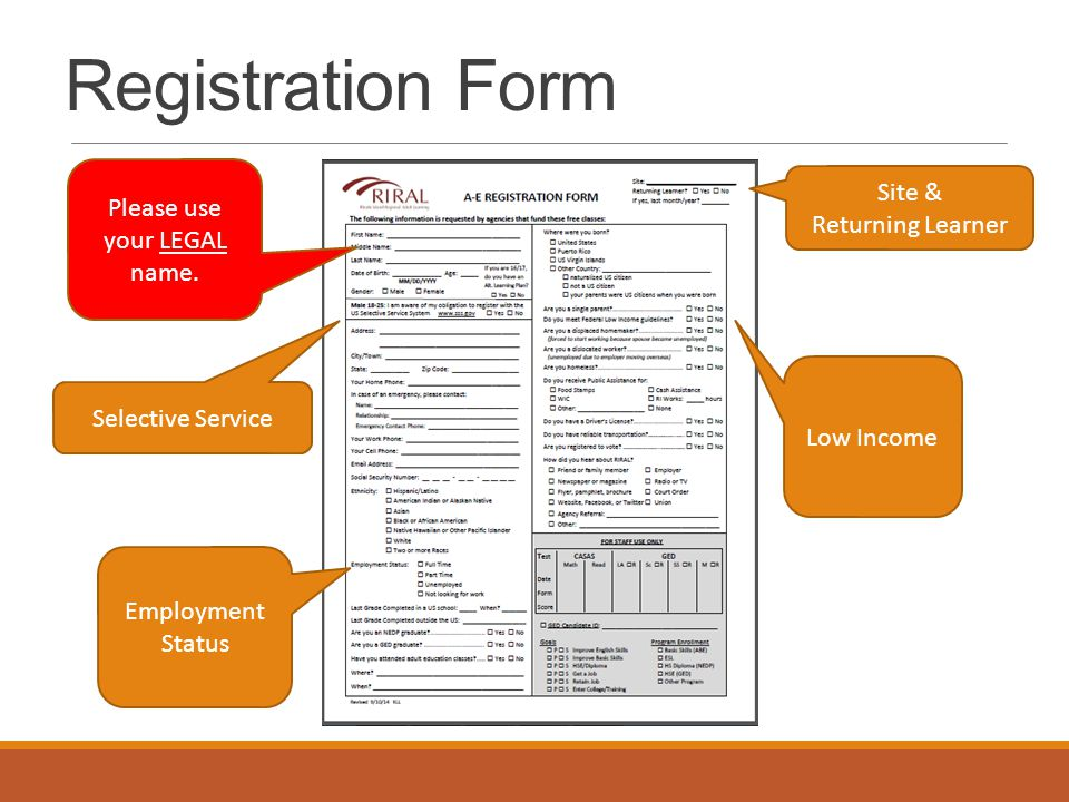 Registration Form Employment Status Selective Service Low Income Site & Returning Learner Please use your LEGAL name.