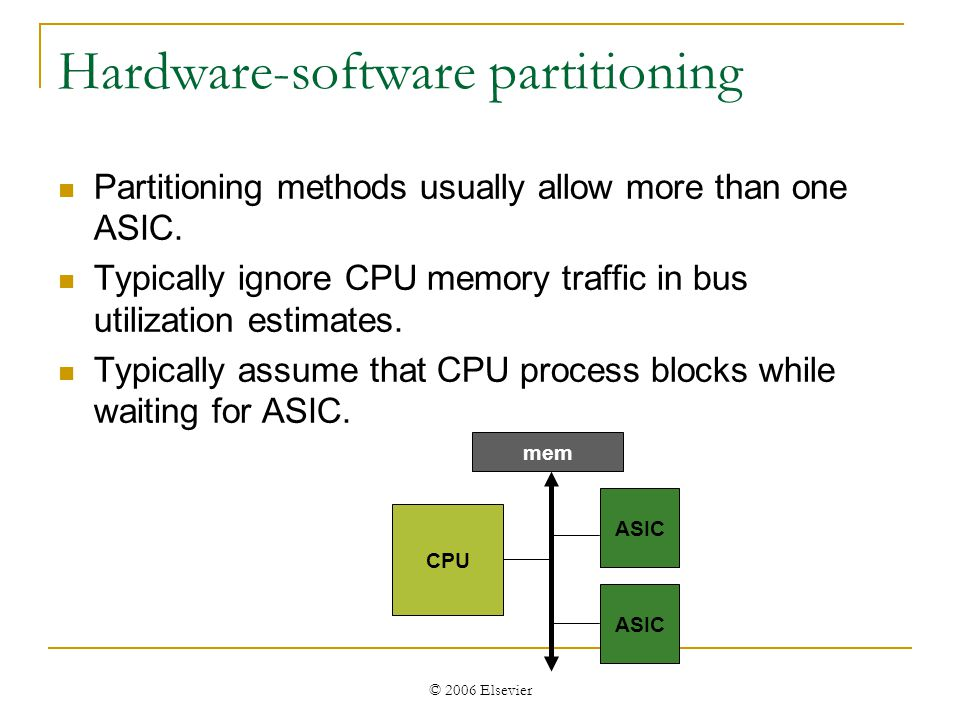 © 2006 Elsevier Hardware-software partitioning Partitioning methods usually allow more than one ASIC.
