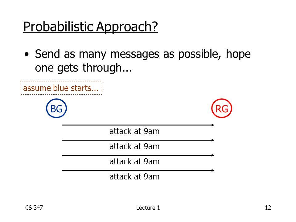 CS 347Lecture 112 Probabilistic Approach.
