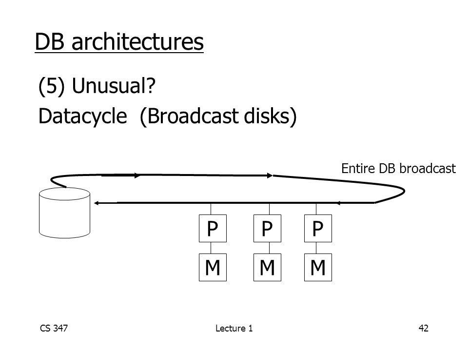CS 347Lecture 142 DB architectures (5) Unusual.