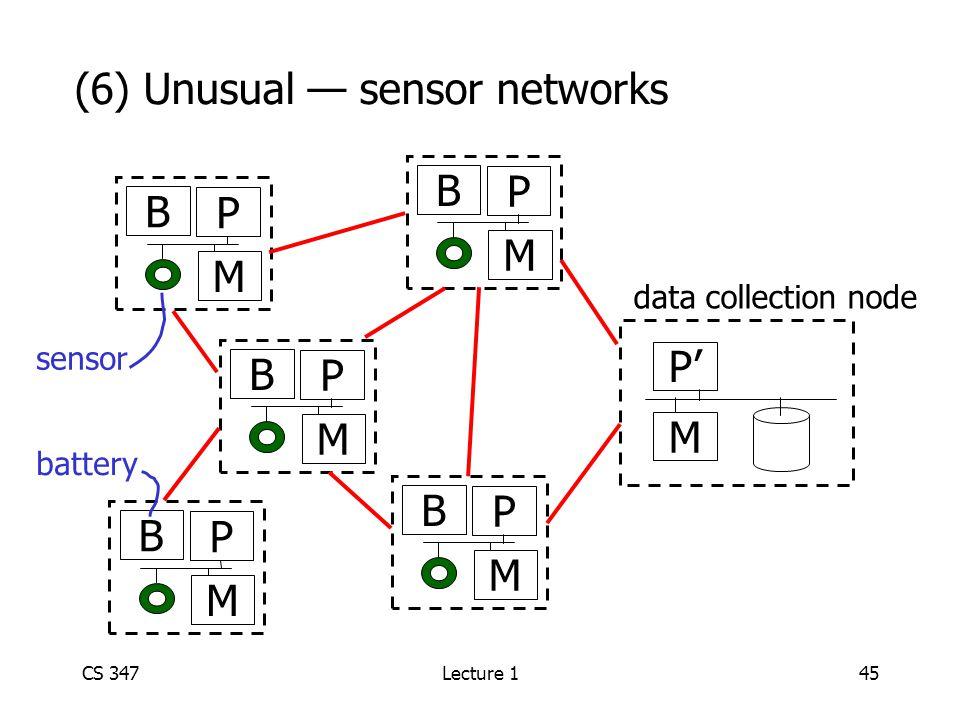 CS 347Lecture 145 (6) Unusual — sensor networks P'P' M M P B M P B M P B M P B M P B data collection node sensor battery