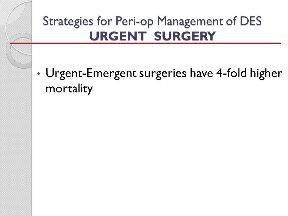 Strategies for Peri-op Management of DES URGENT SURGERY Urgent-Emergent surgeries have 4-fold higher mortality