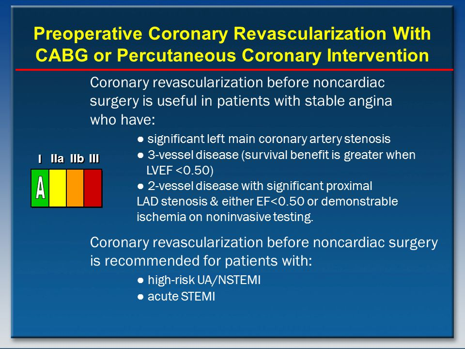 Preoperative Coronary Revascularization With CABG or Percutaneous Coronary Intervention Coronary revascularization before noncardiac surgery is useful