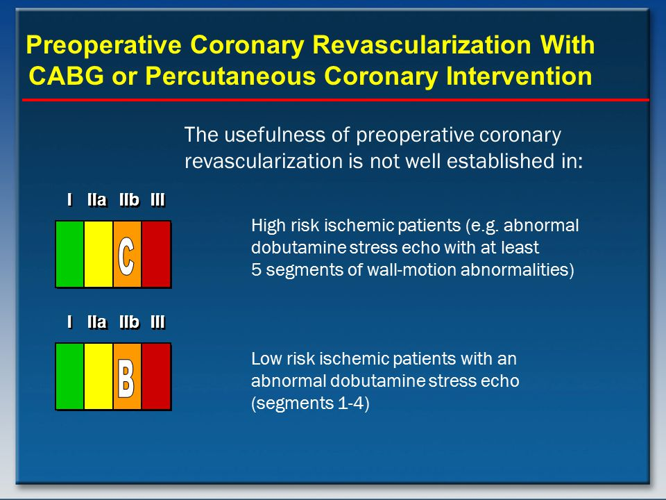 Preoperative Coronary Revascularization With CABG or Percutaneous Coronary Intervention The usefulness of preoperative coronary revascularization is n