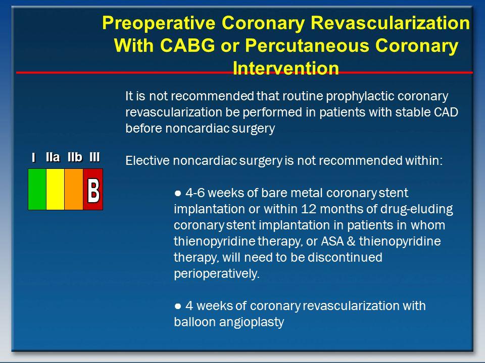 Preoperative Coronary Revascularization With CABG or Percutaneous Coronary Intervention I I I IIa IIb III I I I IIa IIb III I I I IIa IIb III It is no