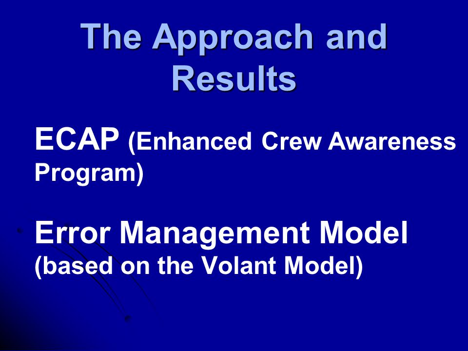 The Approach and Results ECAP (Enhanced Crew Awareness Program) Error Management Model (based on the Volant Model)