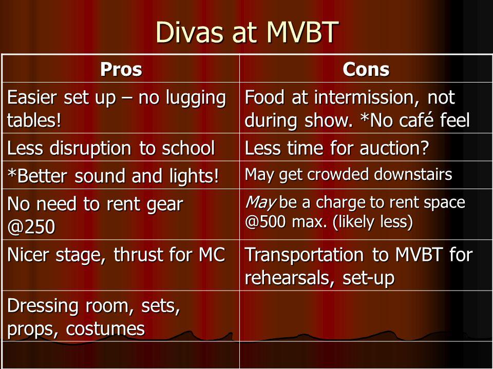 Divas at MVBT ProsCons Easier set up – no lugging tables.
