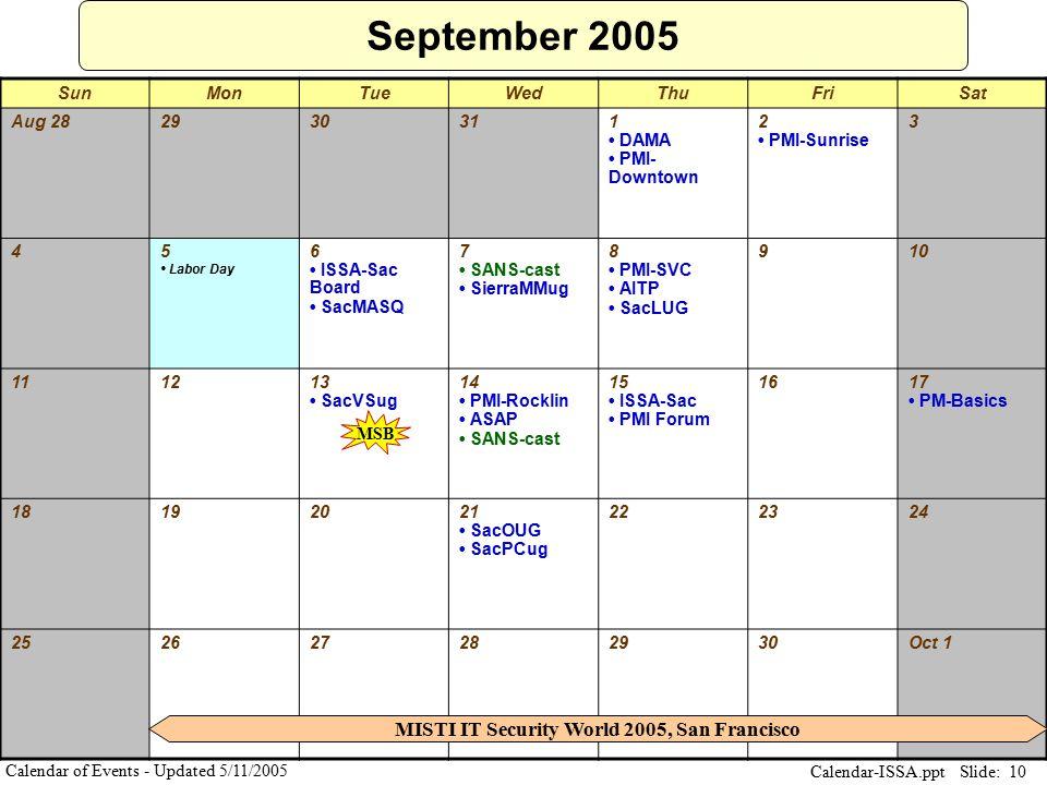 Slide: 10 Calendar-ISSA.ppt Calendar of Events - Updated 5/11/2005 September 2005 SunMonTueWedThuFriSat Aug 282930311 DAMA PMI- Downtown 2 PMI-Sunrise