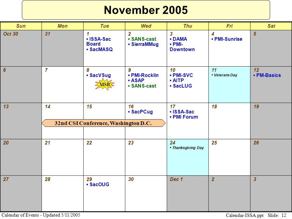 Slide: 12 Calendar-ISSA.ppt Calendar of Events - Updated 5/11/2005 November 2005 SunMonTueWedThuFriSat Oct 30311 ISSA-Sac Board SacMASQ 2 SANS-cast Si