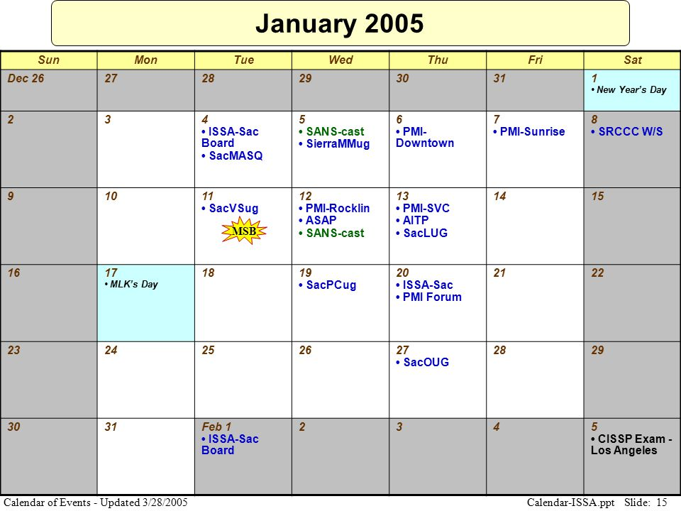 Slide: 15 Calendar-ISSA.ppt Calendar of Events - Updated 3/28/2005 January 2005 SunMonTueWedThuFriSat Dec 2627282930311 New Year's Day 234 ISSA-Sac Bo