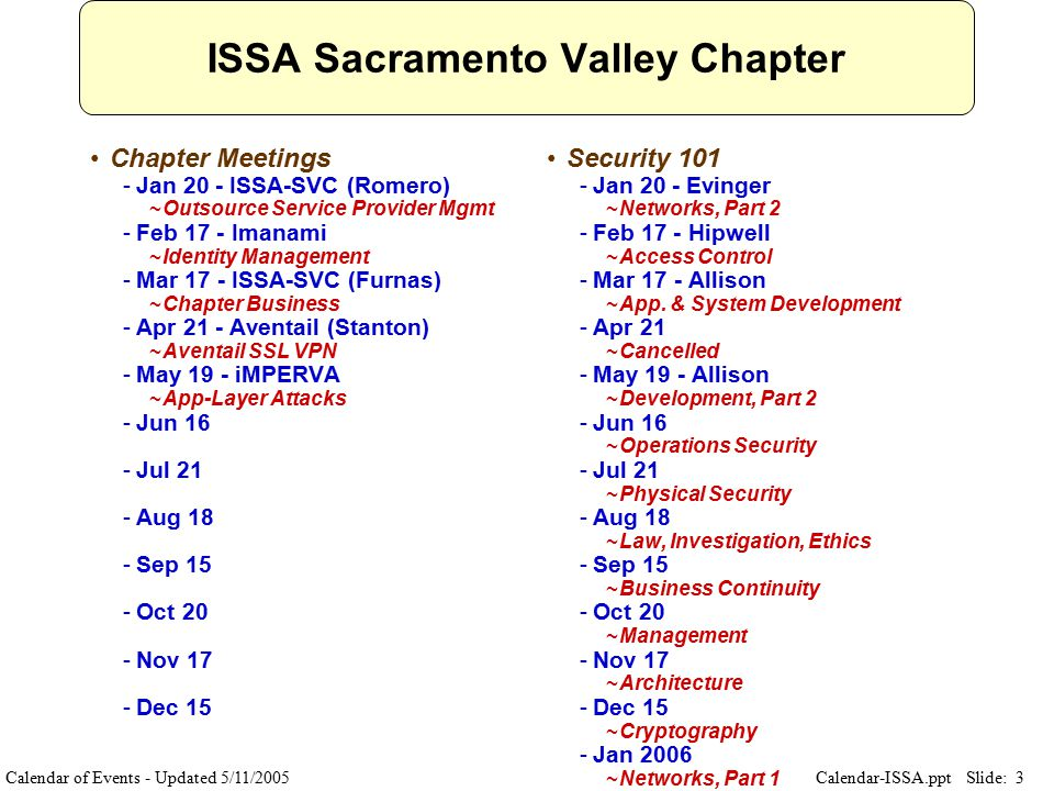 Slide: 3 Calendar-ISSA.ppt ISSA Sacramento Valley Chapter Chapter Meetings ­Jan 20 - ISSA-SVC (Romero) ~Outsource Service Provider Mgmt ­Feb 17 - Imanami ~Identity Management ­Mar 17 - ISSA-SVC (Furnas) ~Chapter Business ­Apr 21 - Aventail (Stanton) ~Aventail SSL VPN ­May 19 - iMPERVA ~App-Layer Attacks ­Jun 16 ­Jul 21 ­Aug 18 ­Sep 15 ­Oct 20 ­Nov 17 ­Dec 15 Security 101 ­Jan 20 - Evinger ~Networks, Part 2 ­Feb 17 - Hipwell ~Access Control ­Mar 17 - Allison ~App.