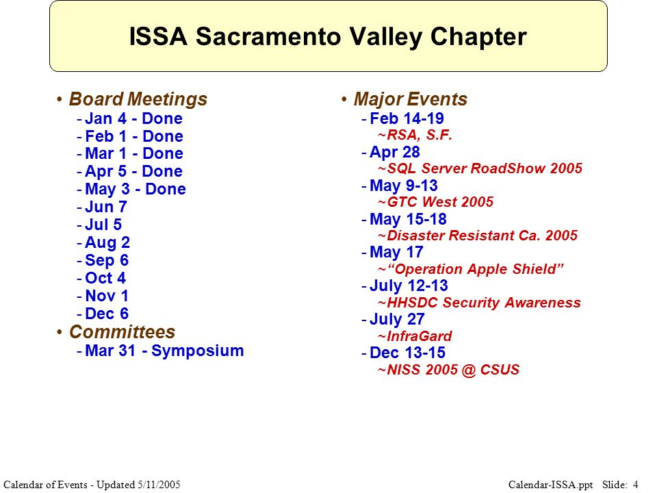 Slide: 4 Calendar-ISSA.ppt ISSA Sacramento Valley Chapter Board Meetings ­Jan 4 - Done ­Feb 1 - Done ­Mar 1 - Done ­Apr 5 - Done ­May 3 - Done ­Jun 7