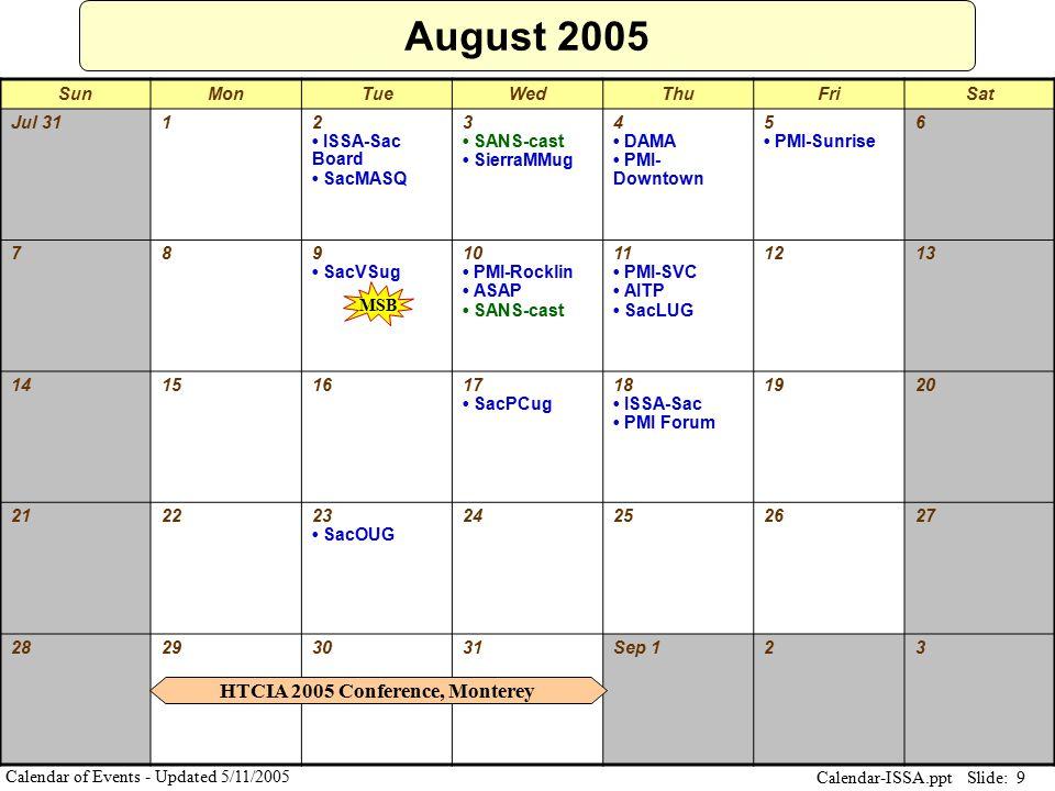 Slide: 9 Calendar-ISSA.ppt Calendar of Events - Updated 5/11/2005 August 2005 SunMonTueWedThuFriSat Jul 3112 ISSA-Sac Board SacMASQ 3 SANS-cast Sierra
