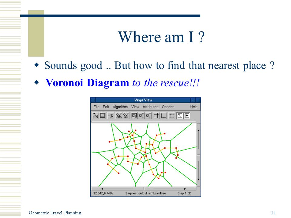 Geometric Travel Planning 11 Where am I ?  Sounds good.. But how to find that nearest place ?  Voronoi Diagram to the rescue!!!