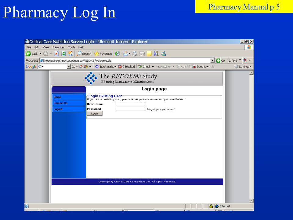 Pharmacy Log In Pharmacy Manual p 5