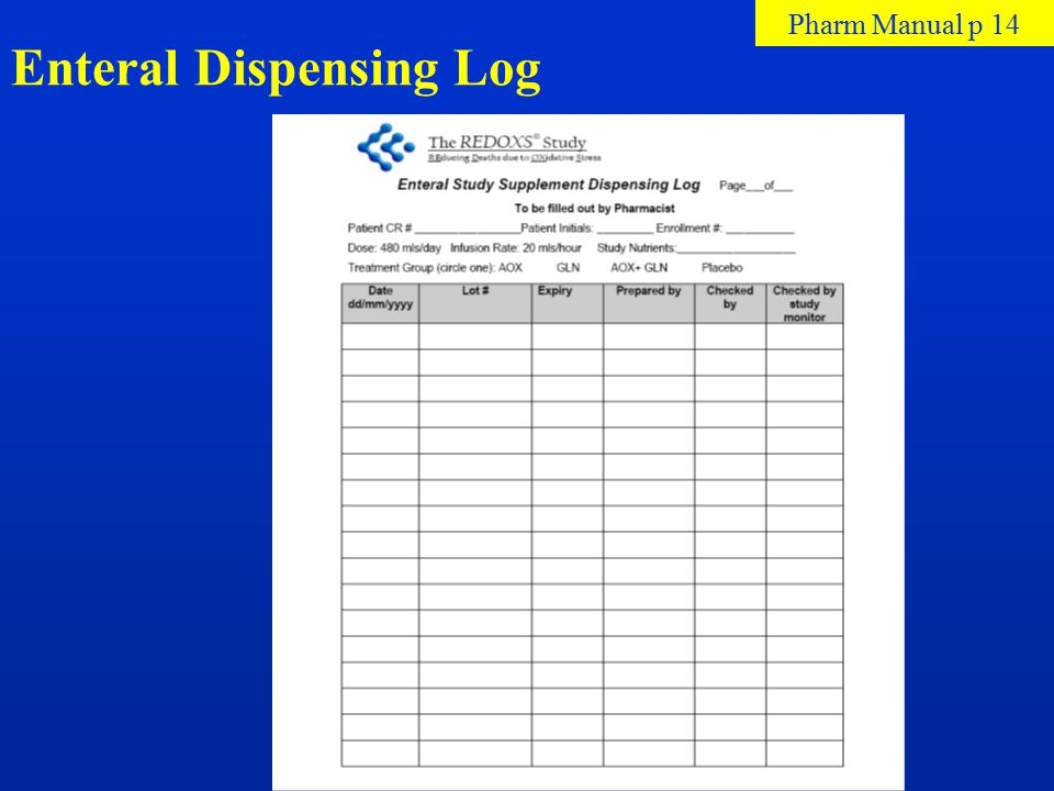 Enteral Dispensing Log Pharm Manual p 14