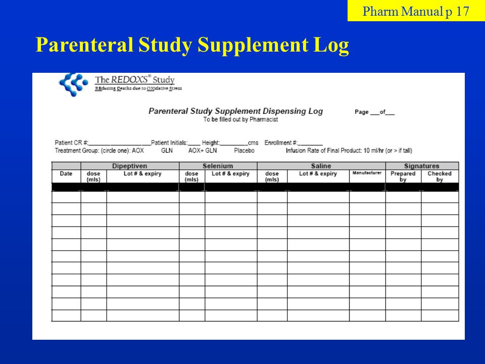 Parenteral Study Supplement Log Pharm Manual p 17