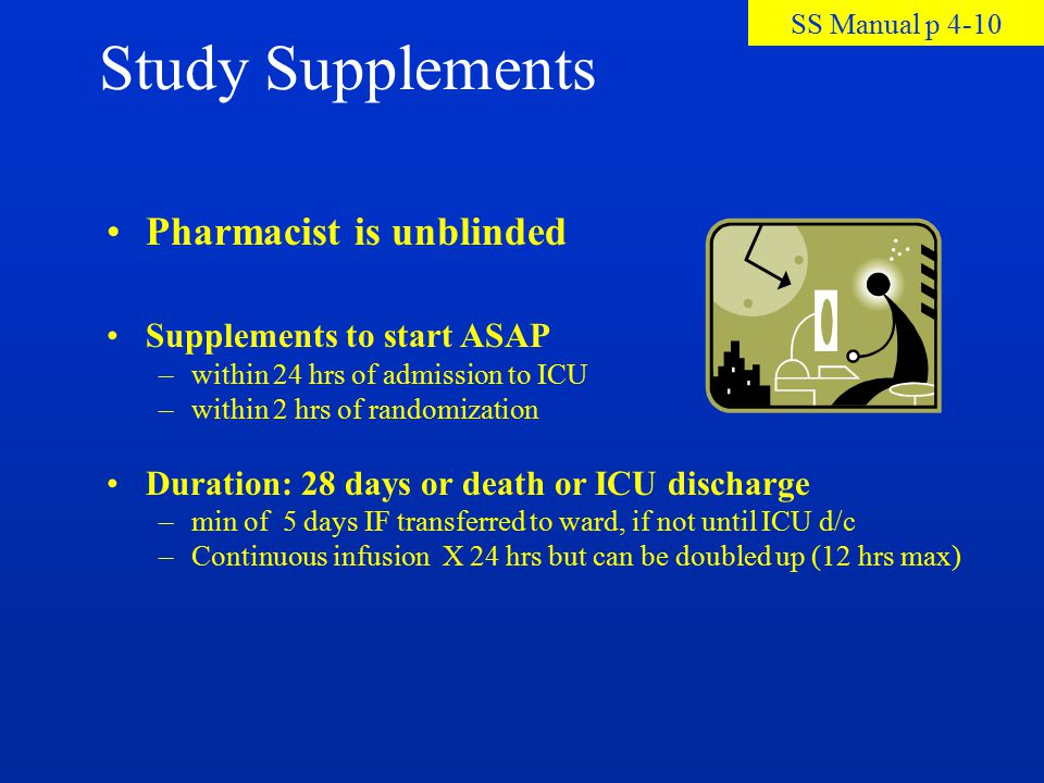 Study Supplements Pharmacist is unblinded Supplements to start ASAP –within 24 hrs of admission to ICU –within 2 hrs of randomization Duration: 28 day