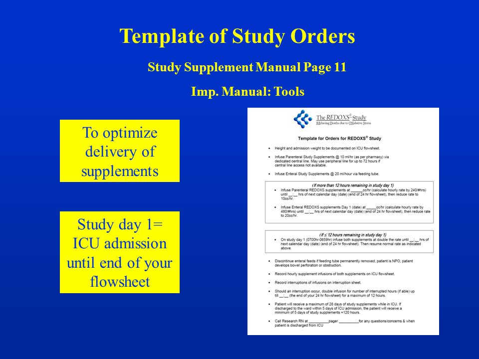 Template of Study Orders Study Supplement Manual Page 11 Imp. Manual: Tools To optimize delivery of supplements Study day 1= ICU admission until end o