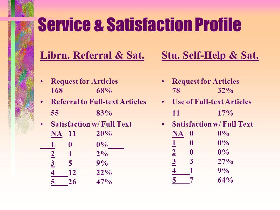 Service & Satisfaction Profile Librn. Referral & Sat.