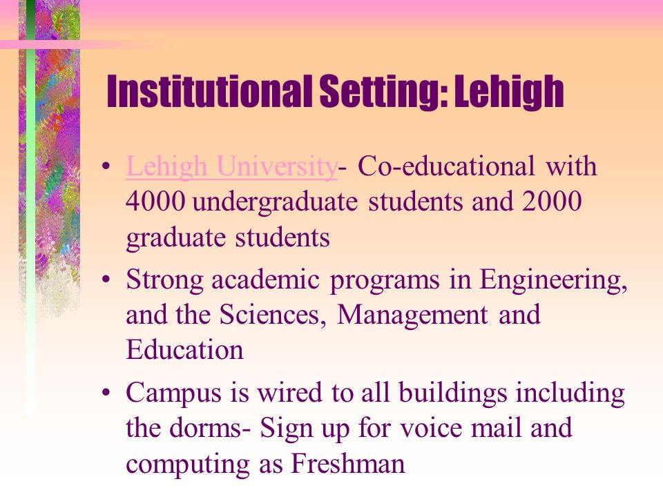 Institutional Setting: Lehigh Continued Public sites for computing Upgrade of faculty computing- electronic resources unavailable to some faculty because of equipment New concerns for computing/libraries- off campus use, and distant education classes I don't even have to go to the library, all the information I need is right at my fingertips