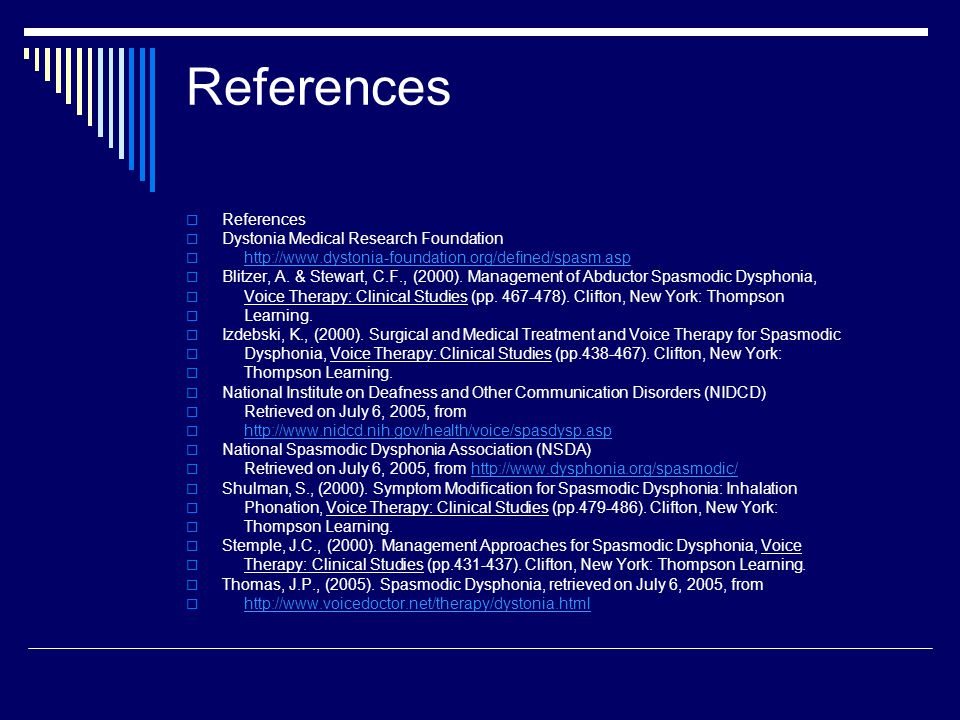 References  References  Dystonia Medical Research Foundation  http://www.dystonia-foundation.org/defined/spasm.asphttp://www.dystonia-foundation.org/defined/spasm.asp  Blitzer, A.