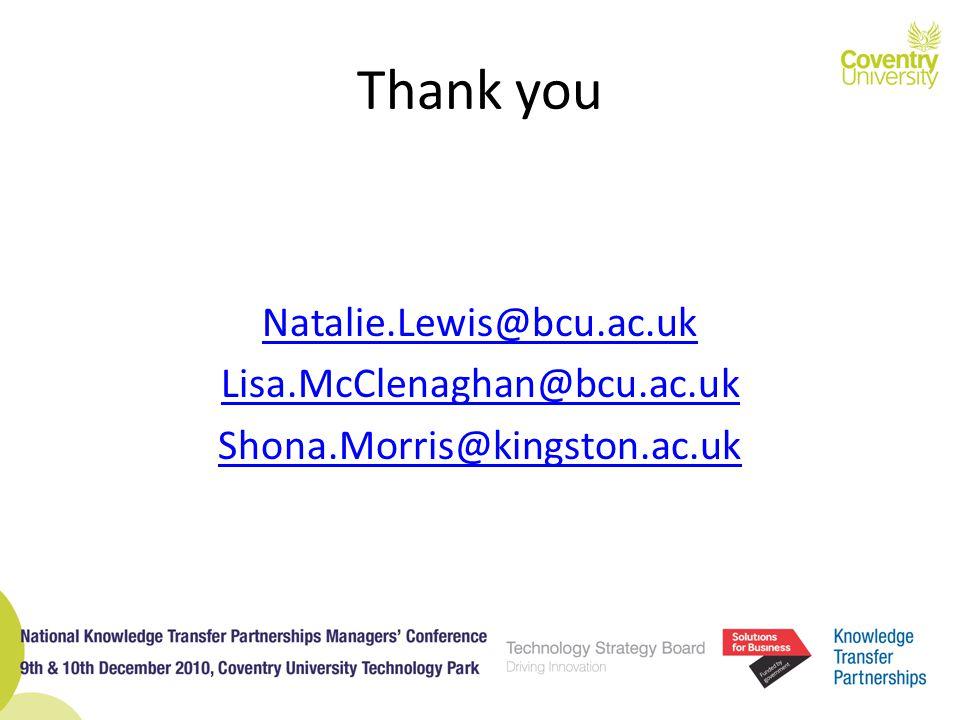 Thank you Natalie.Lewis@bcu.ac.uk Lisa.McClenaghan@bcu.ac.uk Shona.Morris@kingston.ac.uk