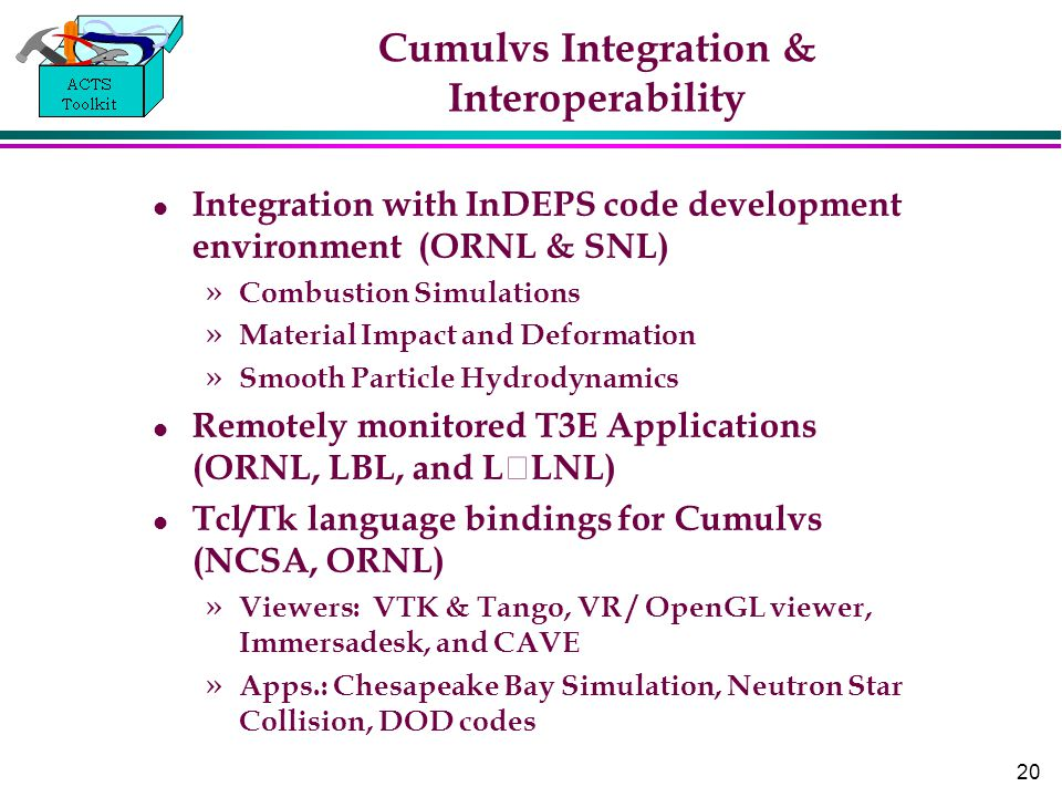 20 Cumulvs Integration & Interoperability Integration with InDEPS code development environment (ORNL & SNL) » Combustion Simulations » Material Impact and Deformation » Smooth Particle Hydrodynamics Remotely monitored T3E Applications (ORNL, LBL, and LLNL) Tcl/Tk language bindings for Cumulvs (NCSA, ORNL) » Viewers: VTK & Tango, VR / OpenGL viewer, Immersadesk, and CAVE » Apps.: Chesapeake Bay Simulation, Neutron Star Collision, DOD codes