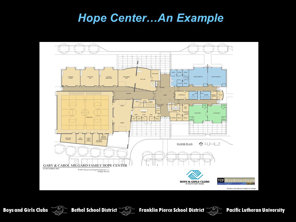 Hope Center…An Example Boys and Girls Clubs Bethel School District Franklin Pierce School District Pacific Lutheran University