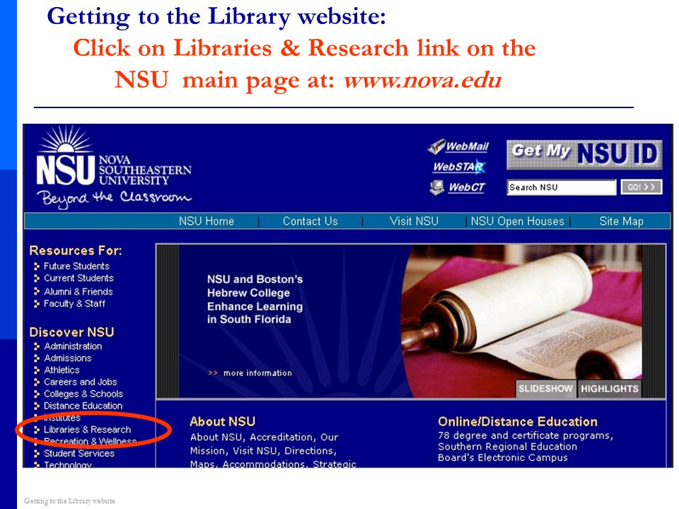 Getting to the Library website: Click on Libraries & Research link on the NSU main page at: www.nova.edu Getting to the Library website