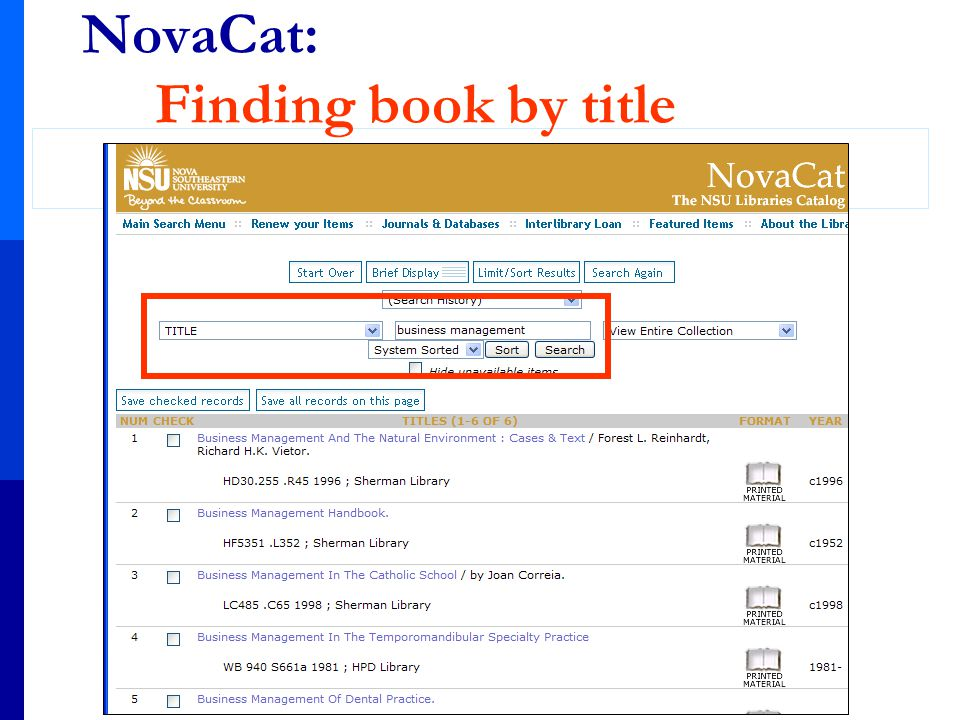 NovaCat: Finding book by title