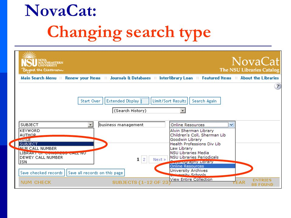 NovaCat: Changing search type