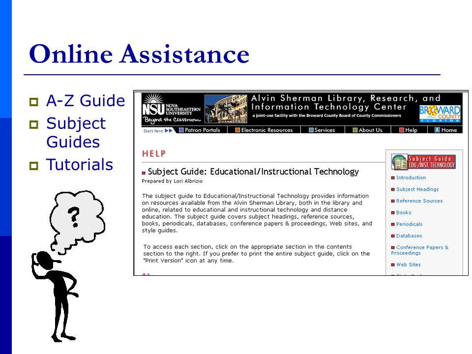  A-Z Guide  Subject Guides  Tutorials Online Assistance